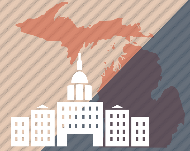 Illustration of the state of Michigan and capitol building. Image credit: Chloe Oliva
