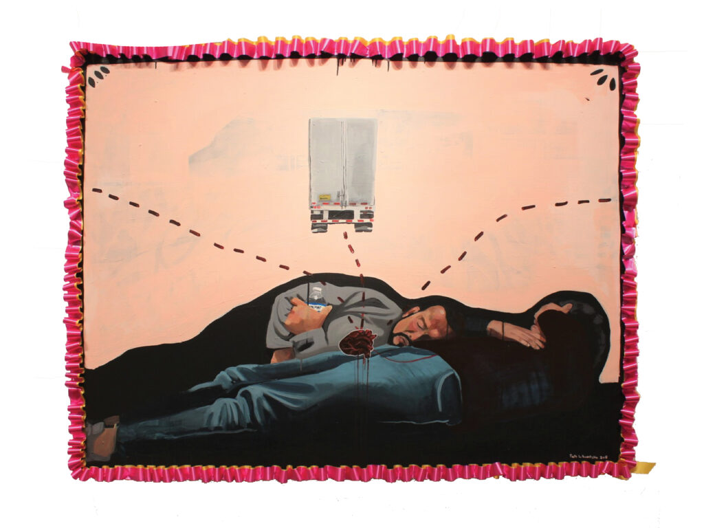 """Yo Tengo Nombre"" by Ruth Leonela Buentello (acrylic on canvas, 2018) will be featured in ""Yo Tengo Nombre"" [I Have a Name], an exhibition presented by the University of Michigan Institute for the Humanities Sept. 19–Oct. 2."
