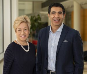 Judith Tam, president of the RIchard Tam Foundation, with Sachin Kheterpal, M.D., M.B.A., co-director of Precision Health at U-M Image credit: Michigan Medicine