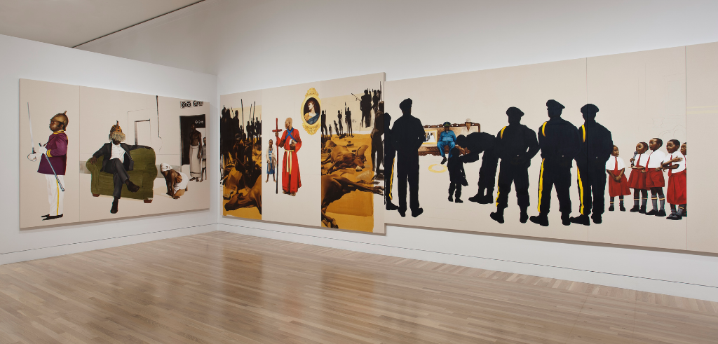 "Sikhuselo Sembumbulu, 2012, Oil and charcoal on canvas, 96"" x 632"" Installation View, Hammer Museum, Los Angeles. Image courtesy Meleko Mokgosi"