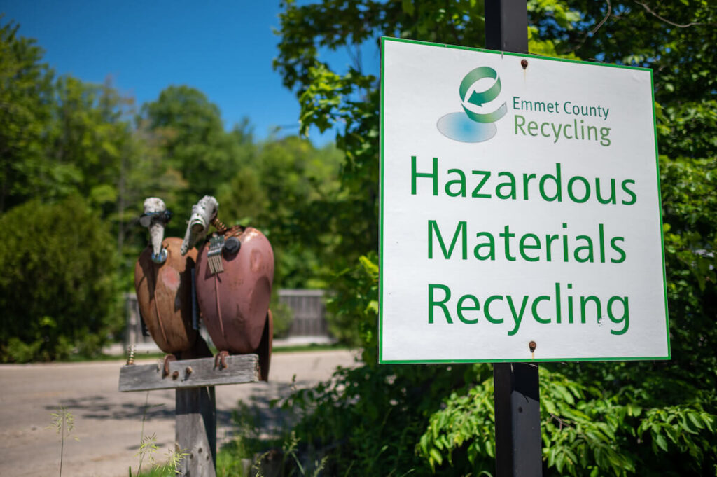 Sign reading: Hazardous Materials Recycling