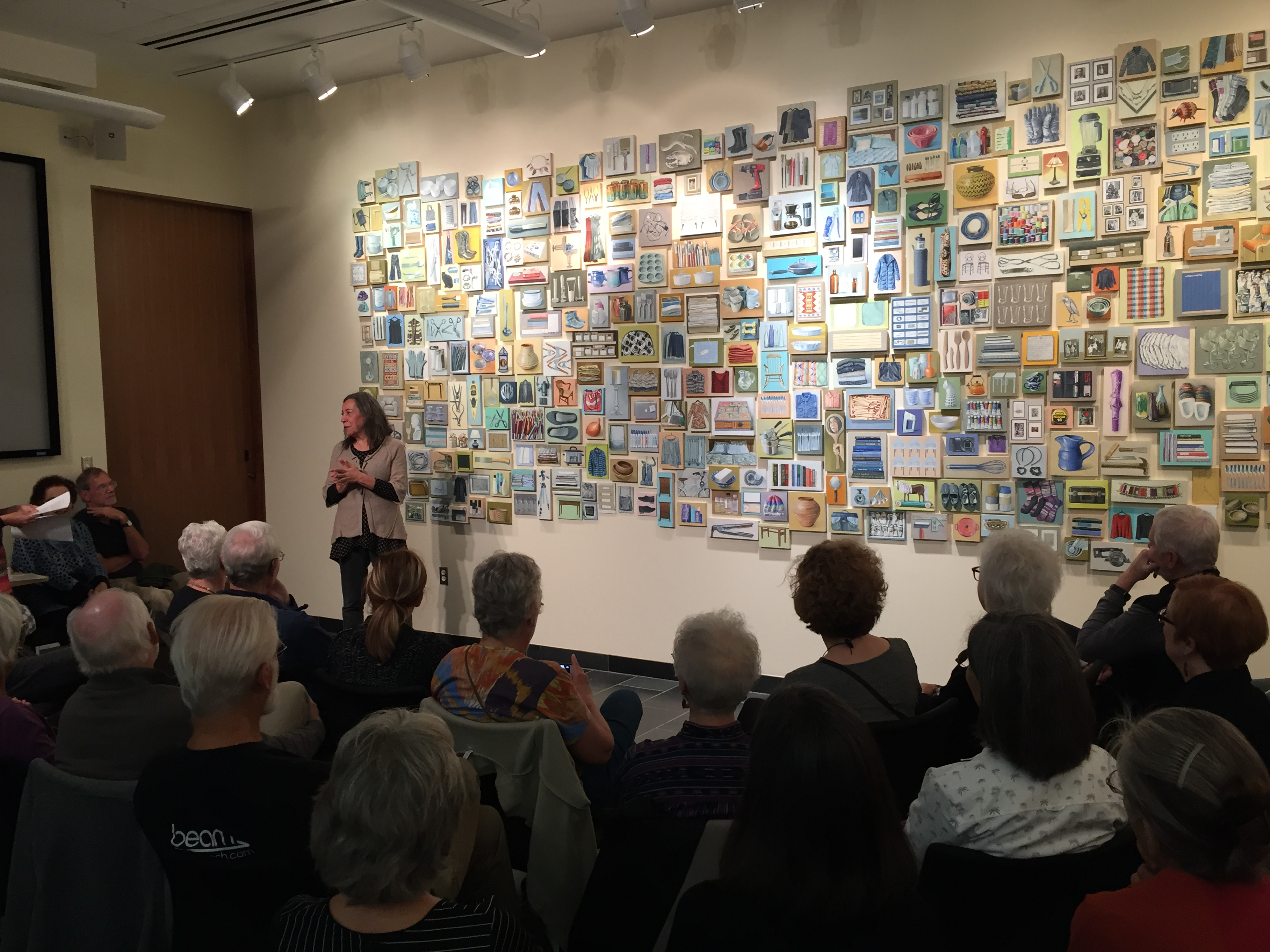 """Artist Jaye Schlessinger discusses her 2017 exhibition, """"Possession,"""" in the Institute for the Humanities Osterman Common Room."""