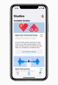 Three new studies, available on the Research app later this fall, will explore new areas of medical research. Image credit: Apple
