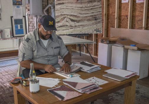 Doug Jones working at his studio in Detroit