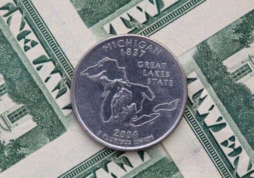 A quarter of Michigan on US dollar bills. Image credit: iStock Photo