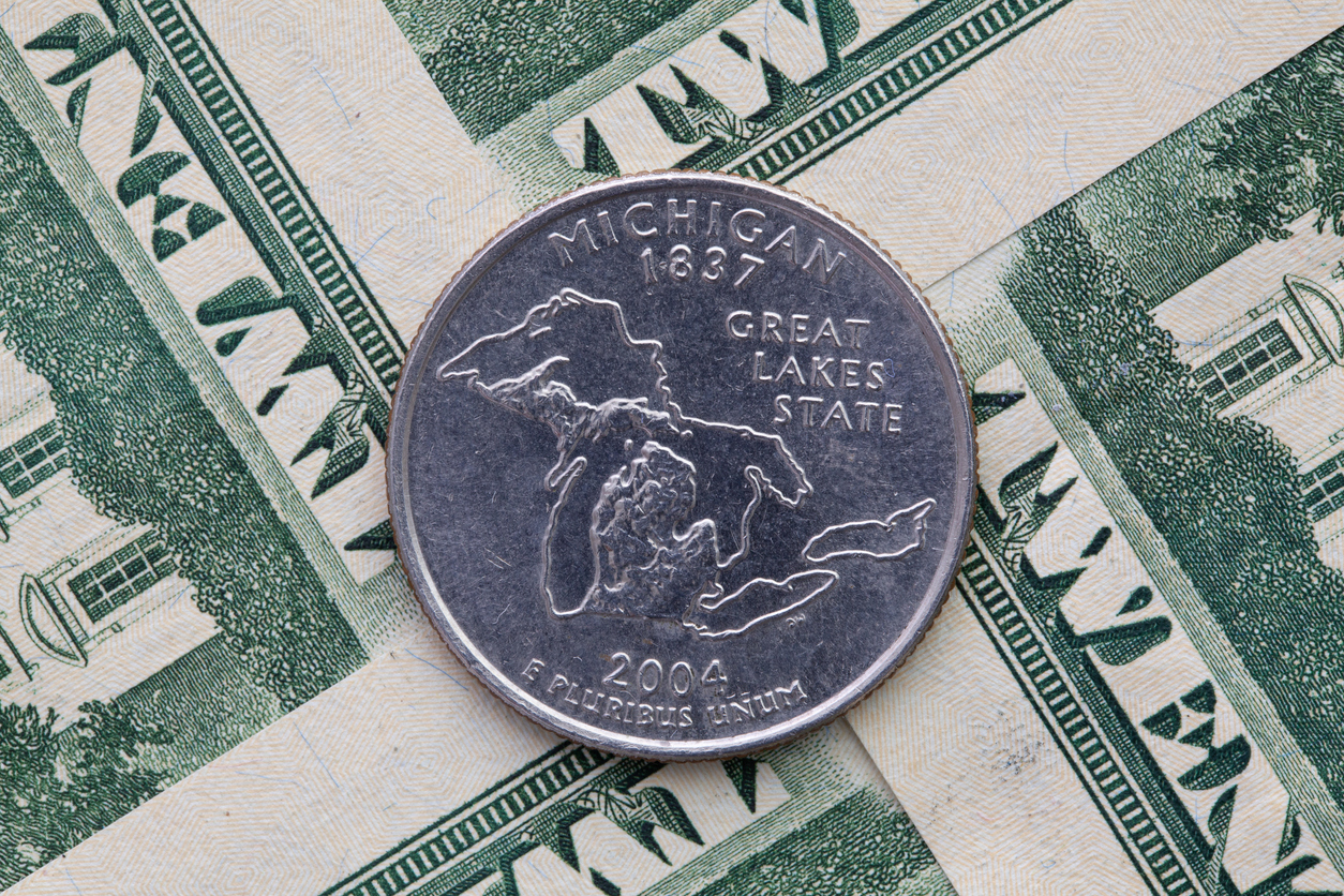 A quarter of Michigan on US dollar bills. Image credit: iStock Photo