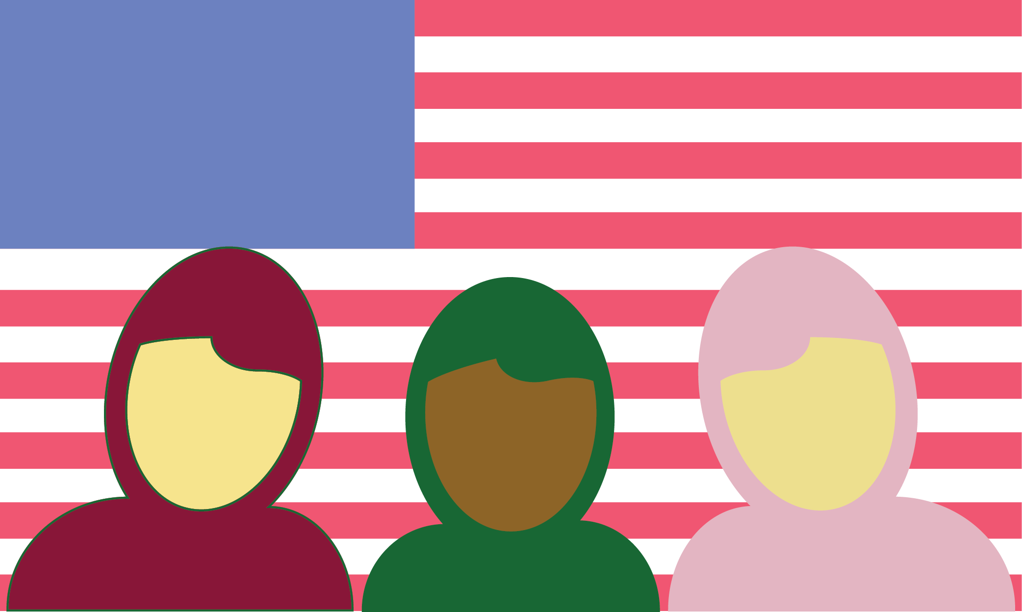 Concept illustration of Muslim people in front of the US flag.