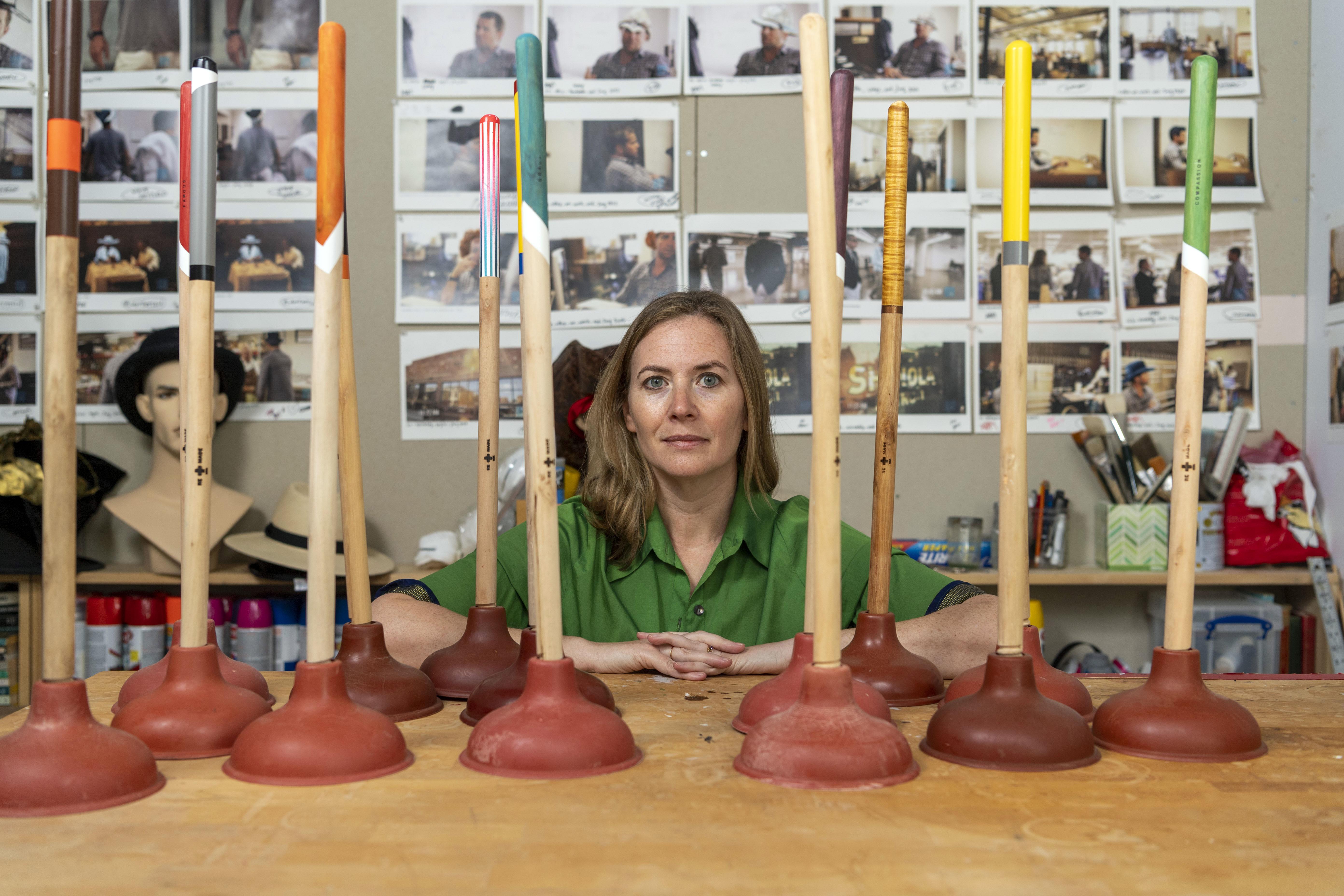 Rebekah Modrak in her studio. Image credit: Roger Hart, Michigan Photography