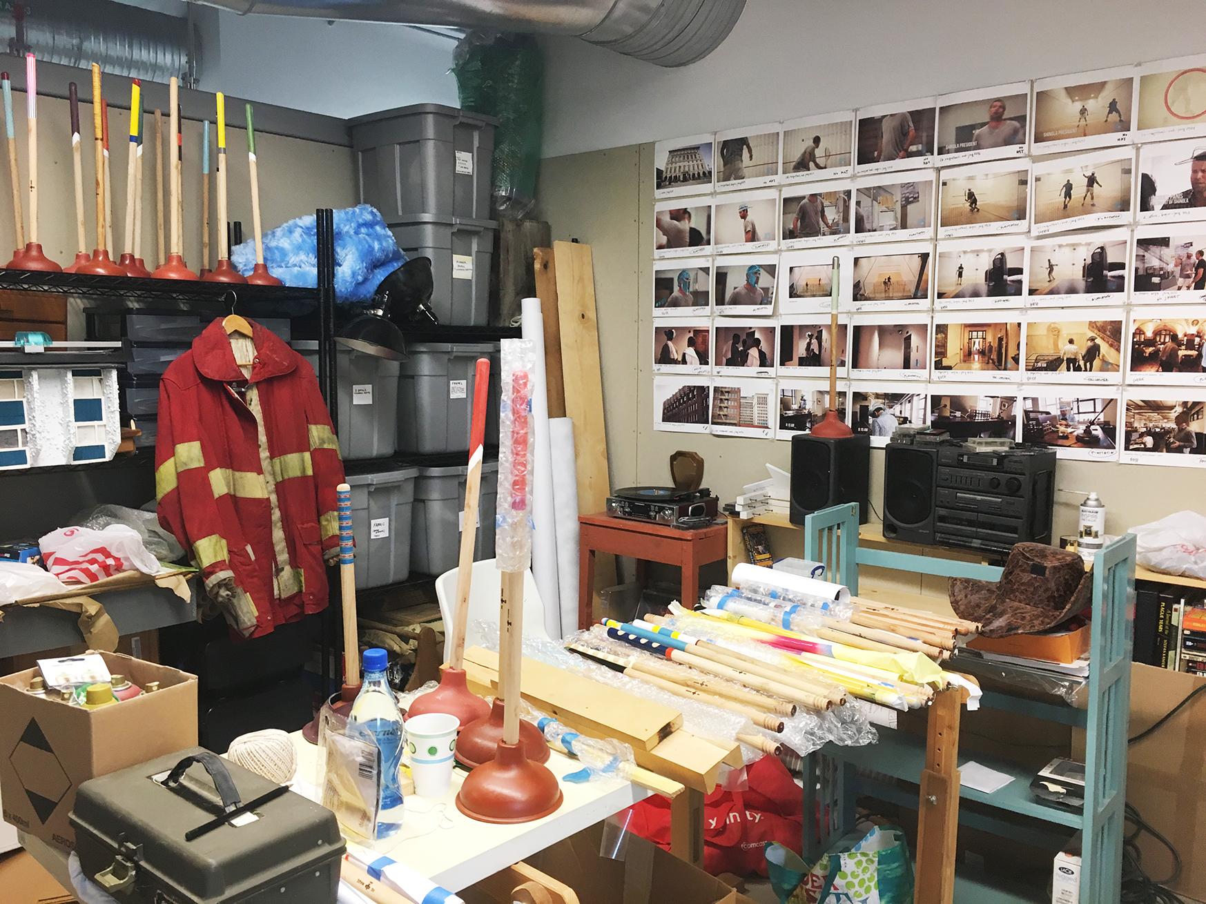 Rebekah Modrak's father, Robert, was a firefighter in the Homewood neighborhood of Pittsburgh. His coat hangs in her studio. Image credit: Rebekah Modrak