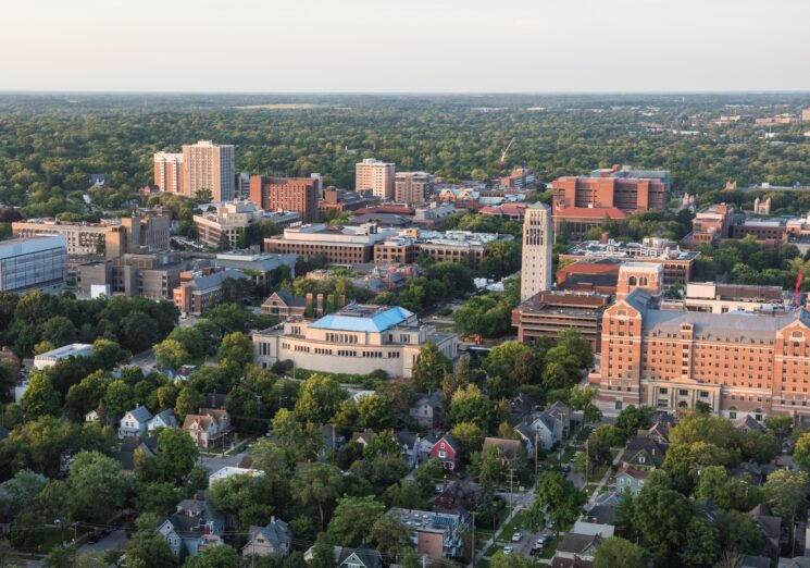 Aerial view of the University of Mihigan Campus. Image credit: Michigan Photography