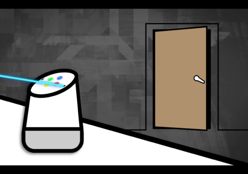 Illustration of a laser hacking a voice assistant device.