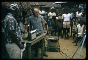 Leo Sarkisian records musicians in Borkezar, Liberia. Photo courtesy Indiana University.