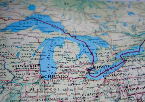 Map of Michigan and the Great Lakes. Image credit: iStock Photo