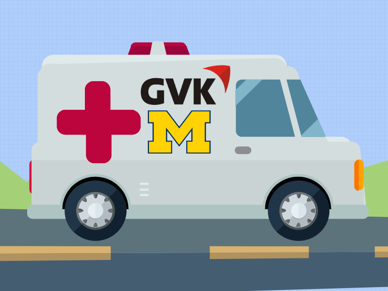 Illustration of an ambluance with the GVK and block M logos. Image credit: Chloe Oliva