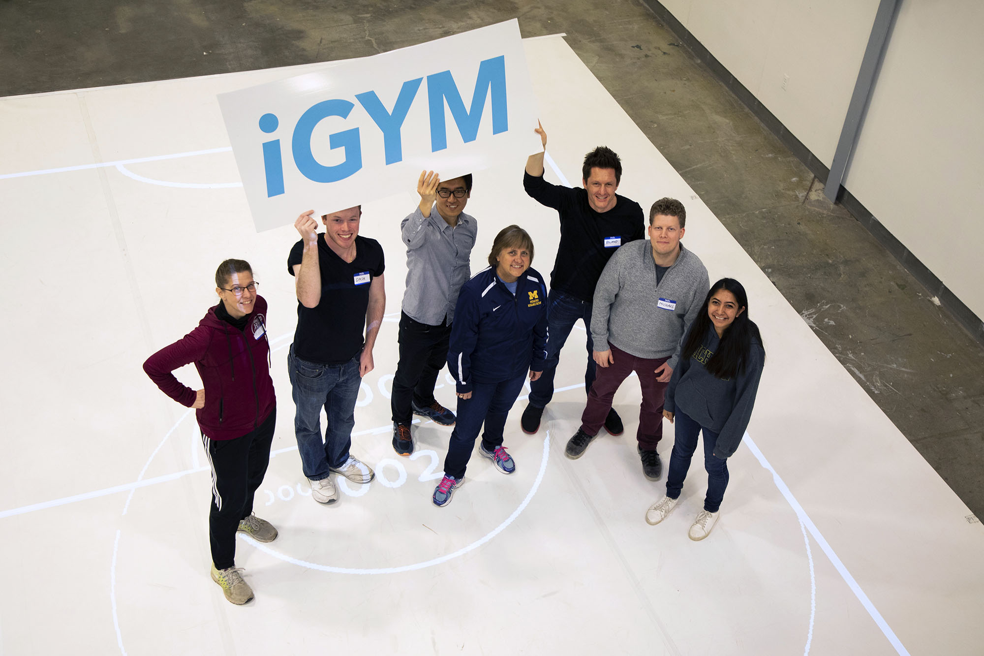 iGym team (left to right): Amy E. Whitesall, research assistant Dashiell Carichner, research assistant Hun Seok Kim, assistant professor, U-M College of Engineering  Betsy Howell, M.S., P.T, consultant  Roland Graf, associate professor, U-M Stamps School of Art & Design Michael Nebeling, assistant professor, U-M School of Information Pallavi Benawri, research assistant