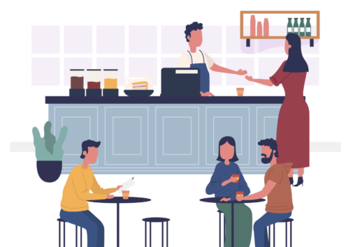 Illustration of people in a coffee shop. Image credit: Freepik