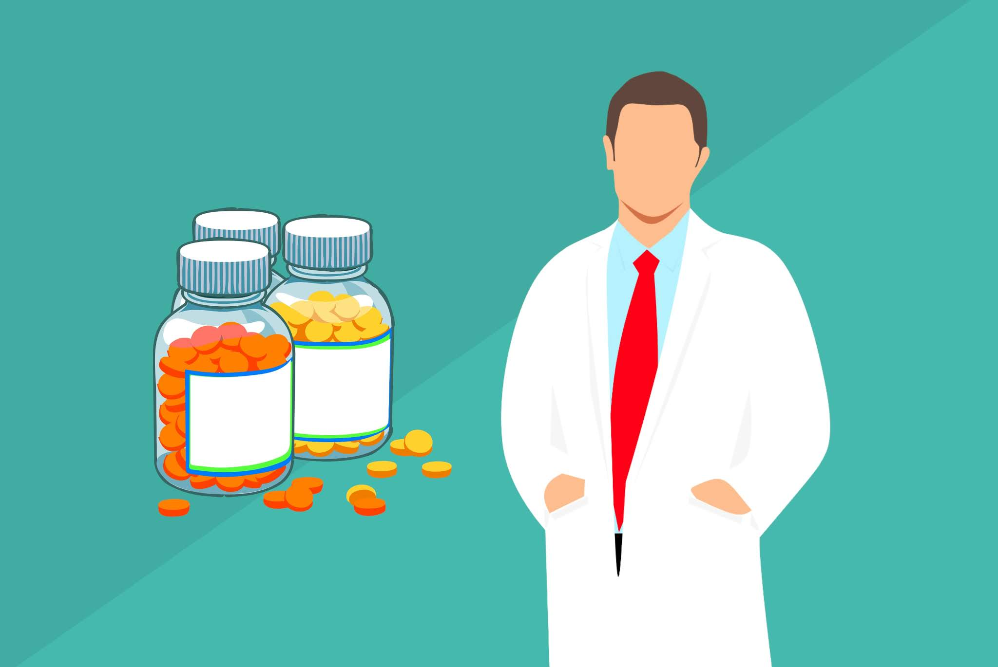 Pharmacist and pills illustration. Image credit: Mohamed Hassan, StockVault