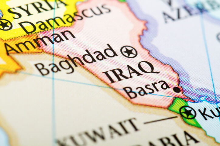 Map of the country Iraq in red. Image credit: iStock