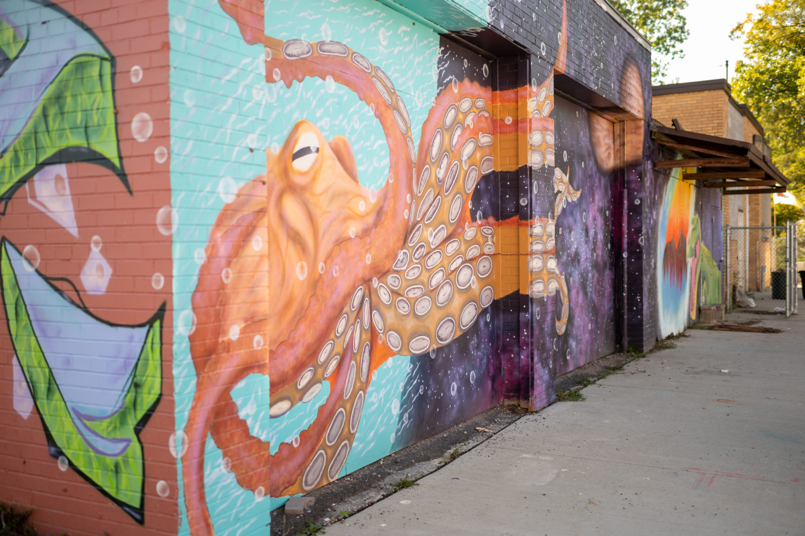 An homage to Diego Rivera: a student-painted mural at Brightmoor. Image credit: Eric Bronson, Michigan Photography