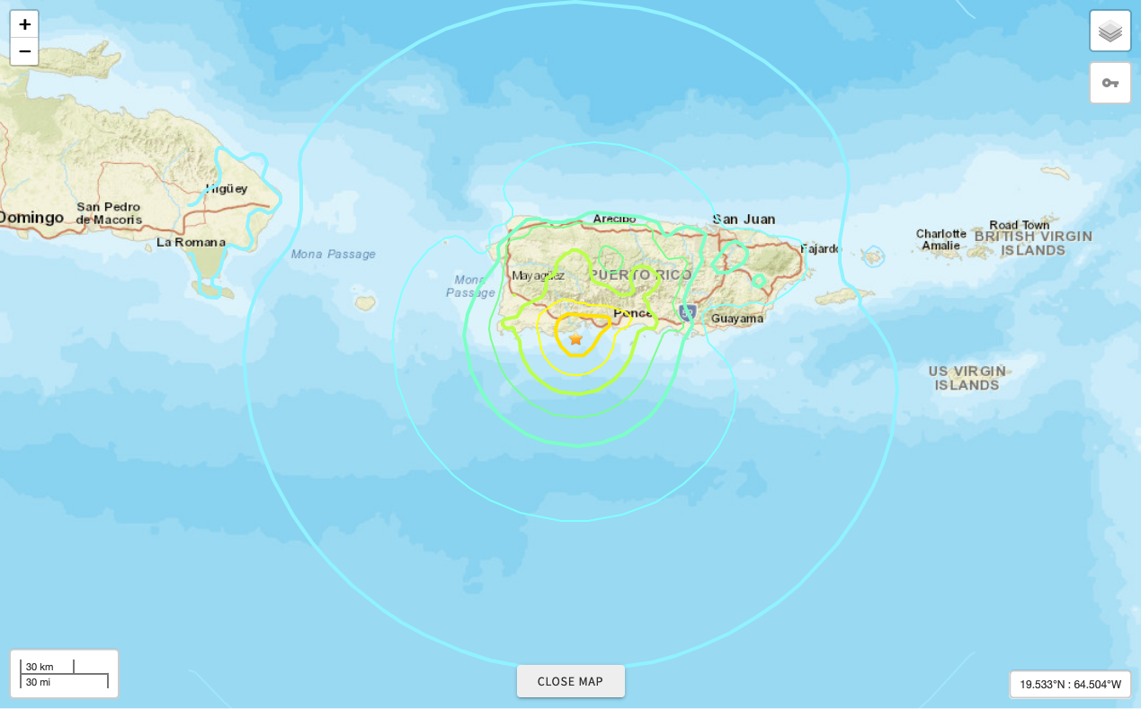 Map showing 8km S of Indios, Puerto Rico and impact of the January 6, 2020, M 5.8 earthquake. Image courtesy: USGS