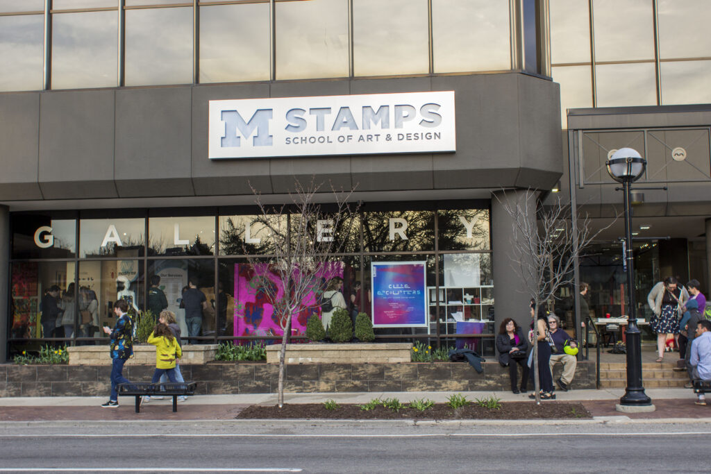 The Stamps Gallery is part of the University of Michigan Penny W. Stamps School of Art & Design. It is located at 201 S. Division Street in Ann Arbor, Michigan. Image credit: Nick Beardslee/University of Michigan Stamps School of Art & Design.