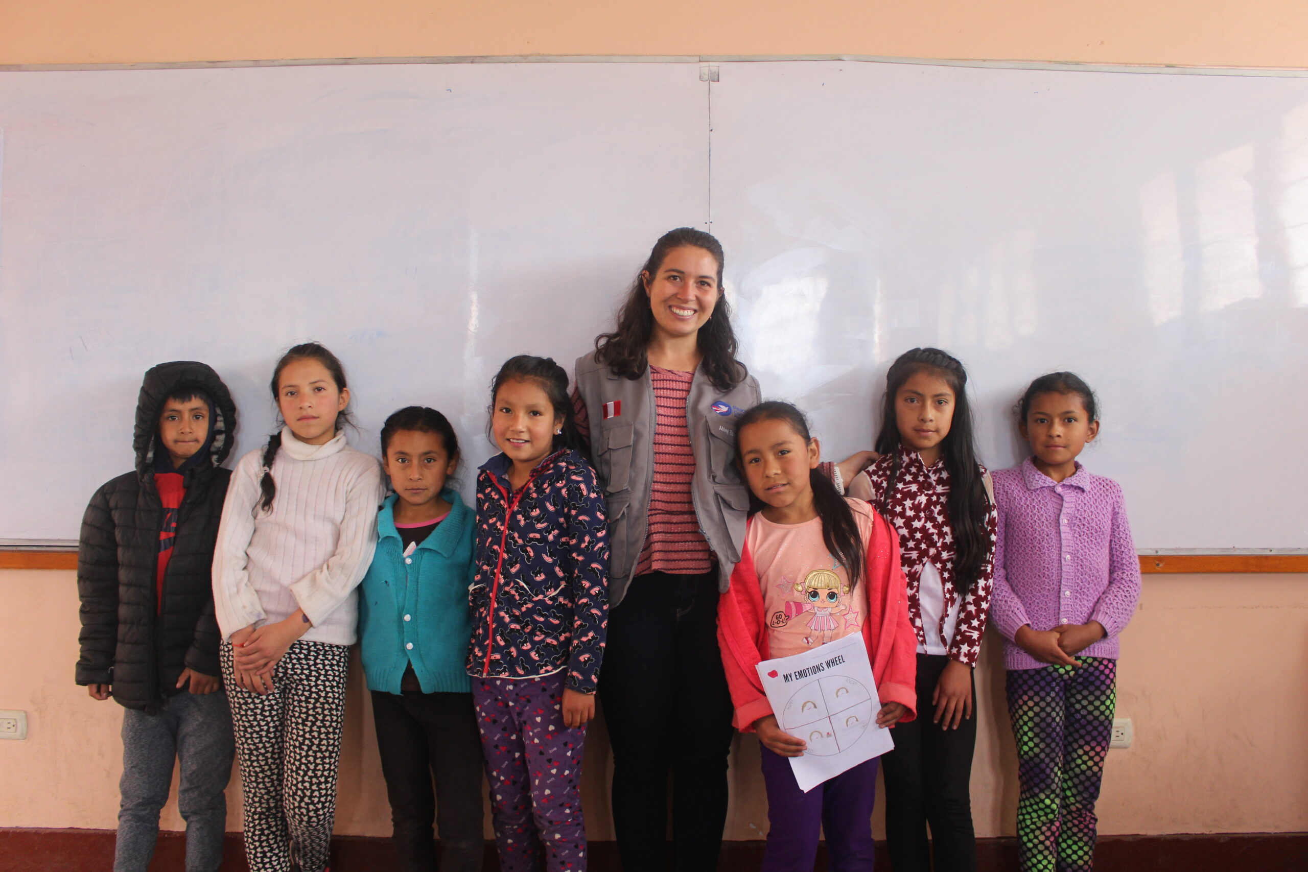 Abbey Edwards and a few students from her English classes. Image credit: Peace Corps Students