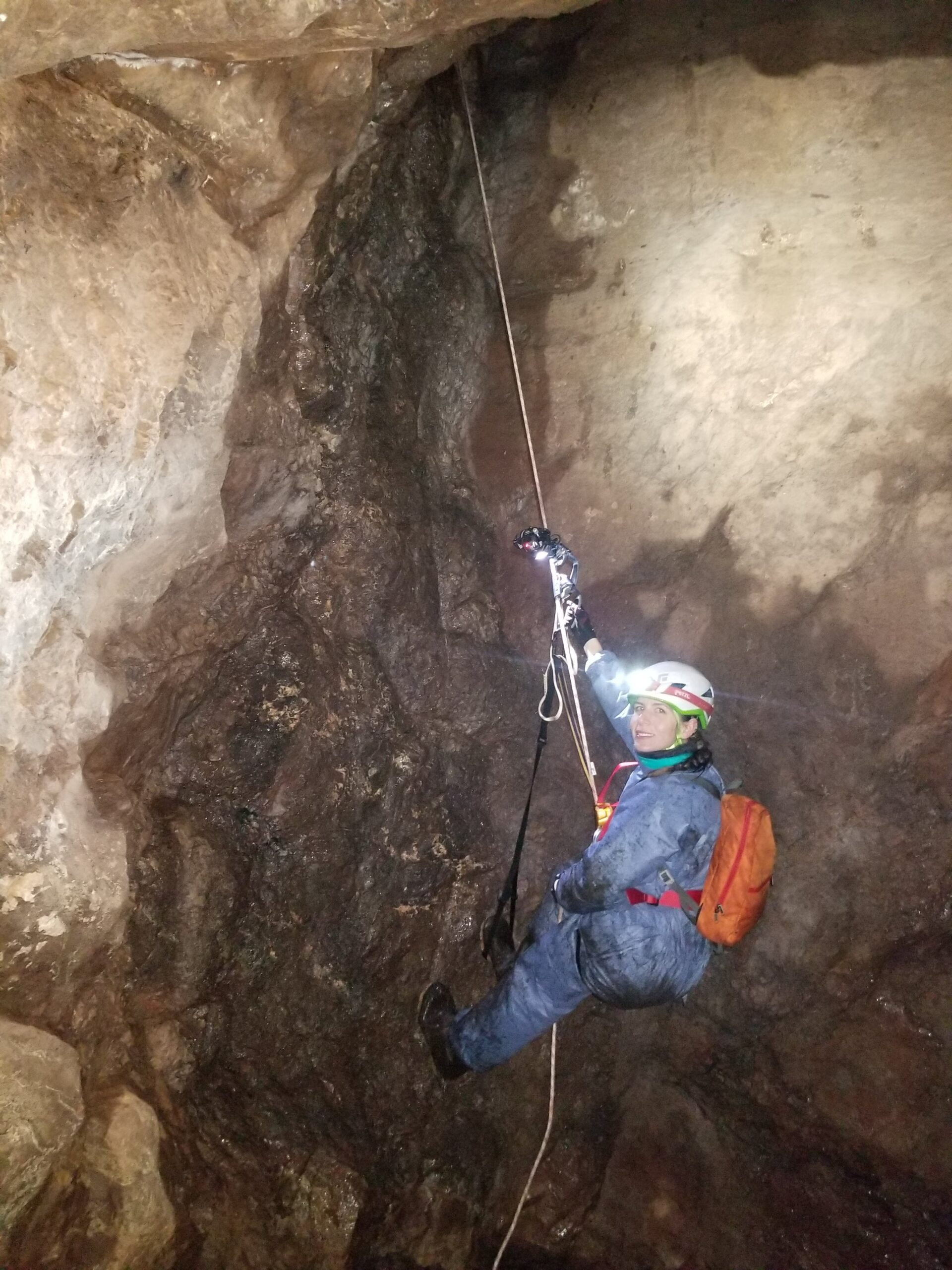 U-M doctoral student Giorgia Auteri rappelling into an abandoned Upper Peninsula copper mine to study hibernating little brown bats, one of species known to be affected by white-nose syndrome. Image credit: John DePue
