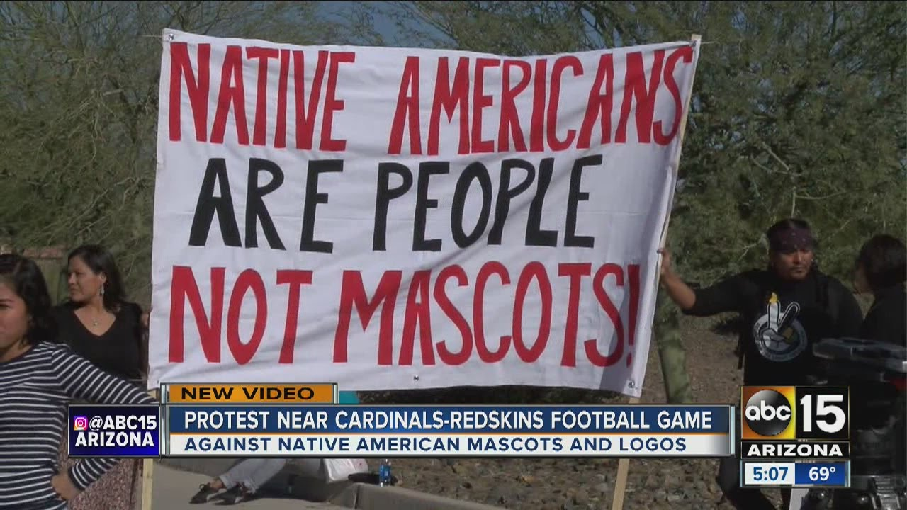 Group protests Washington's NFL mascot before Arizona Cardinals game. Image credit: ABC15 Arizona