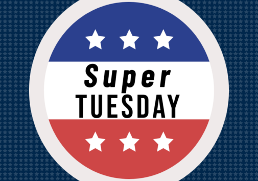 "Illustration of a badge with ""super tuesday"". Image credit: Chloe Oliva"
