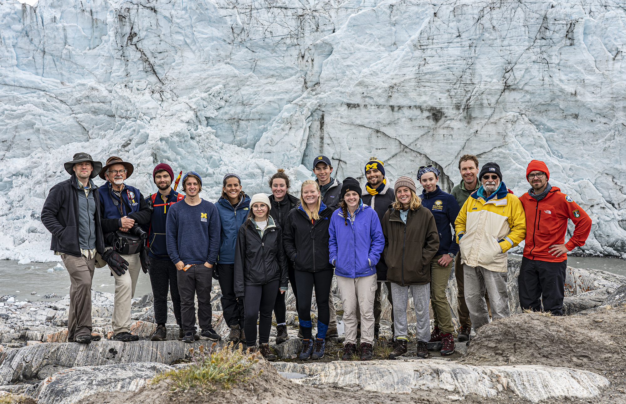 The 2019 Greenland Expedition in front of the Russell Glacier.