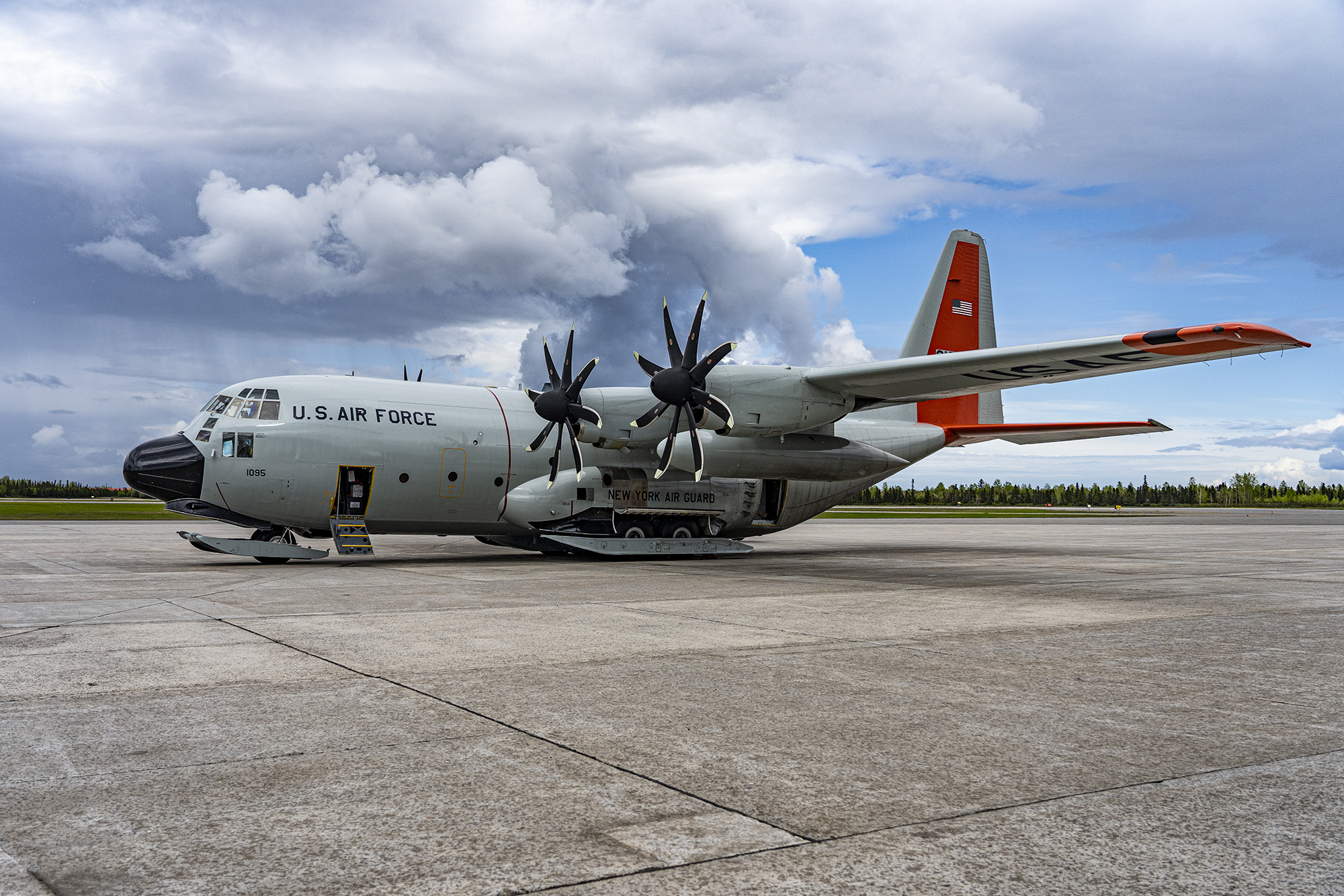 United States Air Force LC-130 Skibird at the Canadian Forces Base Goose Bay in Greenland.