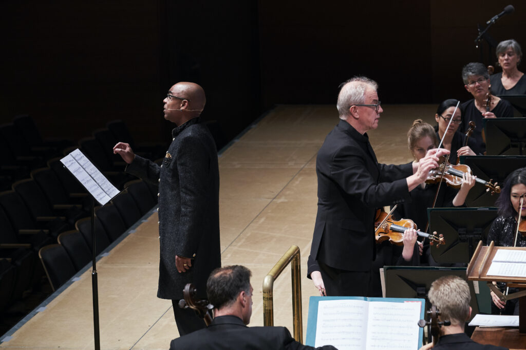 "Aaron Dworkin (left) performs during the premiere ""The American Rhapsody"" with the Minnesota Orchestra"