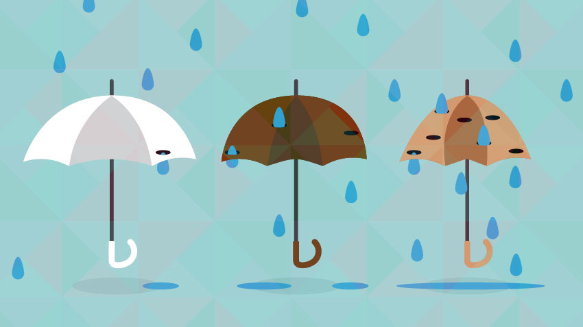 Umbrellas with holes and rain. Image courtesy: Michigan Health Lab