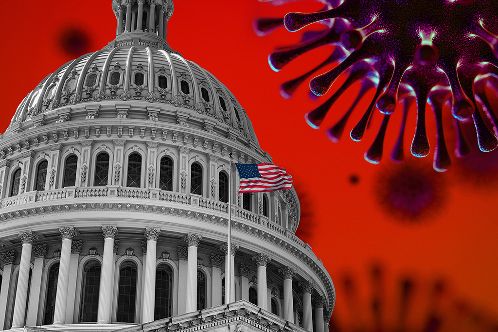 US Flag Capitol State Building Covid19 2020 Pandemic. Image credit: iStock