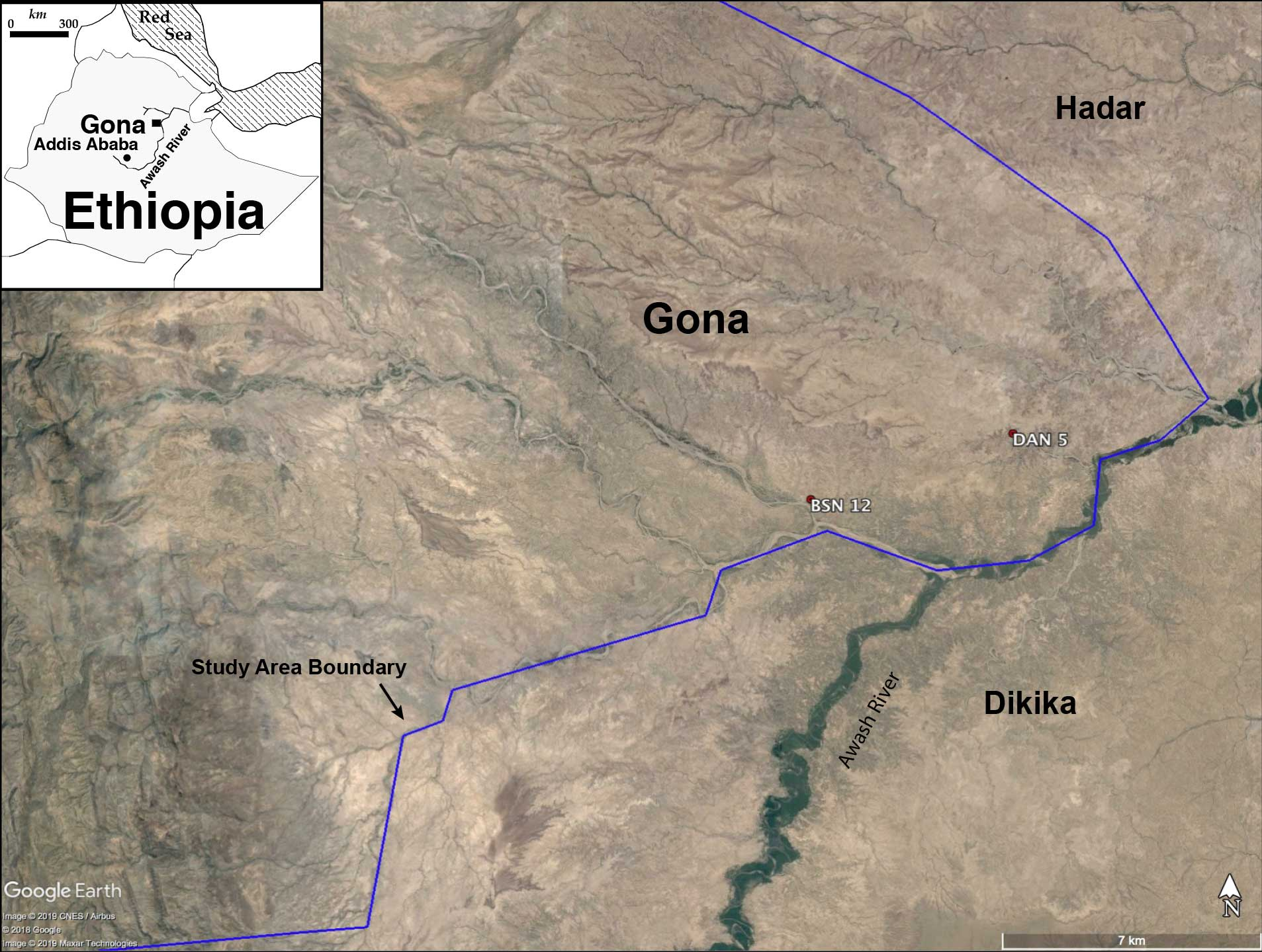 The map shows Gona, with an inset showing its location in the center of Ethiopia. A blue line shows the study area boundary