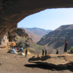 Archeologists work at rock shelters at Sehonghong and Melikane in southern Africa. Image credit: Brian Stewart
