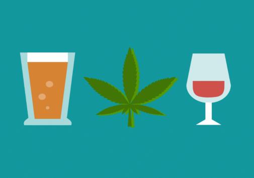 Icon illustration of alcohol and marijunana