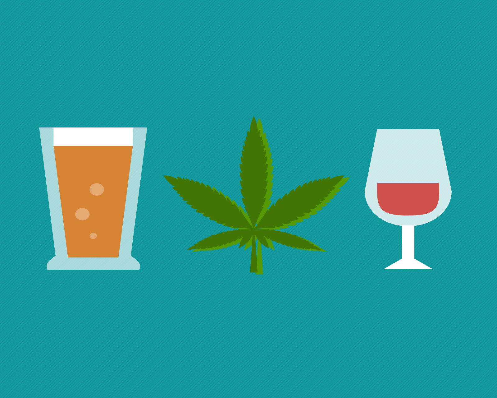 Illustration of a glass of beer, a glass of wine, and a marijuana leaf. Image credit: Chloe Oliva