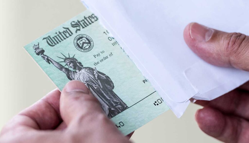 A U.S. government check. Image credit: iStock