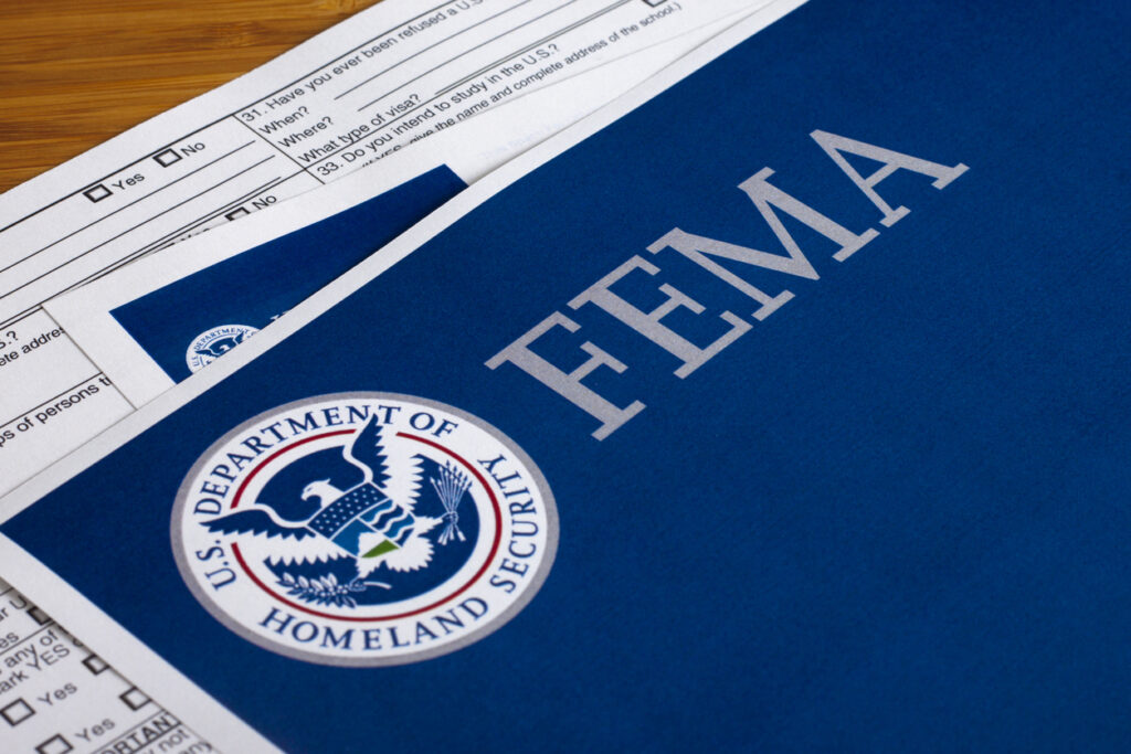 FEMA US Homeland Security Citizen and Immigration Services flyer closeup. Image credit: iStock