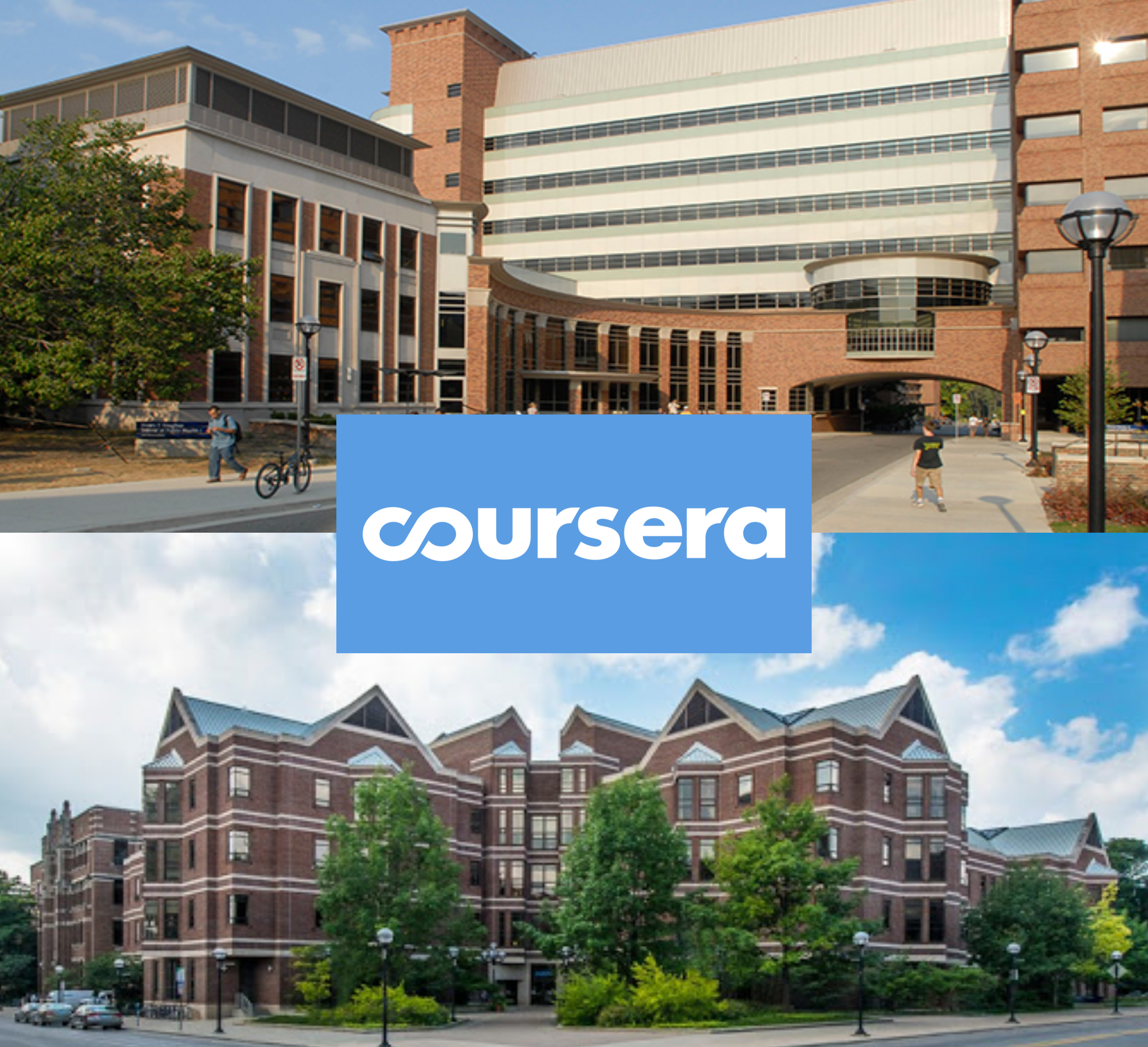 Image of The School of Social Work and the School of Public Health with Coursera logo.