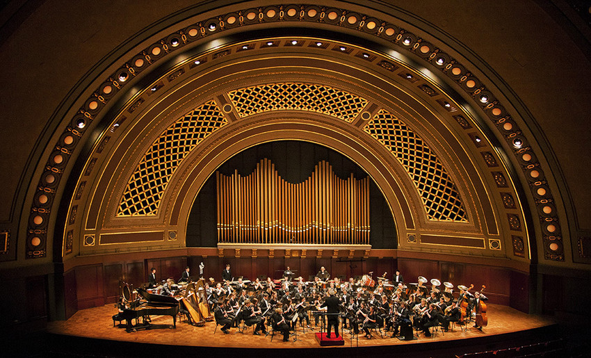 Image of Hill Auditorium stage.