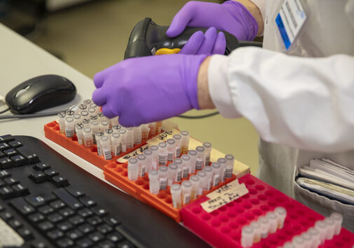 Image of a scientist testing blood samples. Image credit: Creative Commons
