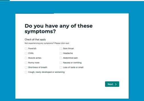 Symptom checkboxes. Image credit: MI Symptoms