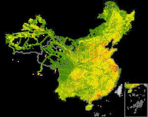 地图显示了2012年与海外消费产品相关的中国二氧化碳排放源。橙色和红色位置是与出口相关二氧化碳排放的热点。一项由密西根大学领导的新研究跟踪了少数沿海制造业中心的排放,并显示该国约1%的土地面积排放了与出口挂钩的CO2排放量的75%.