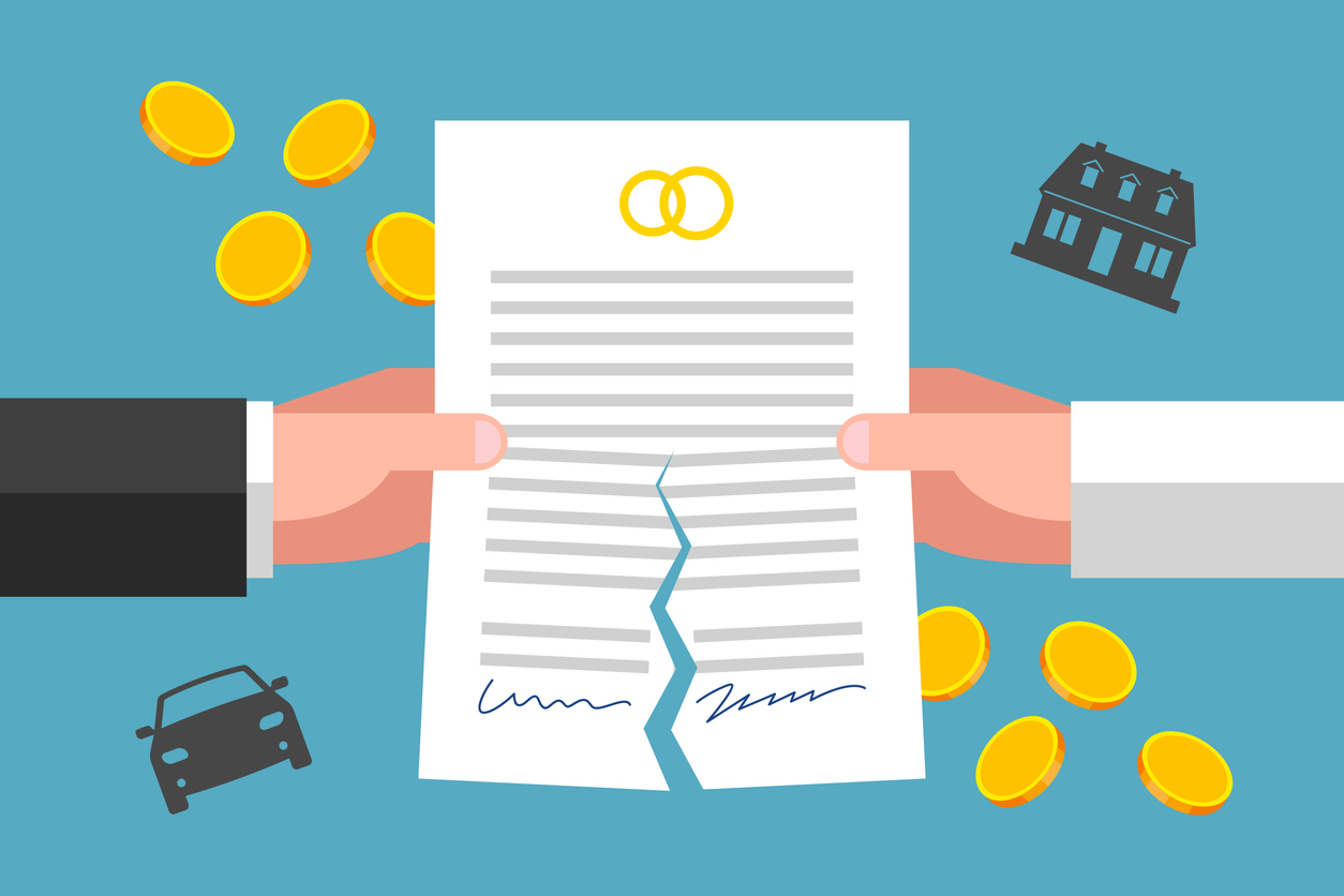 Hands of ex-wife and ex-husband are tearing prenuptial agreement, gold coins and silhouettes of house and car are around. Financial implications of divorcement. Legal side of family breakdown Image credit: Vaselena