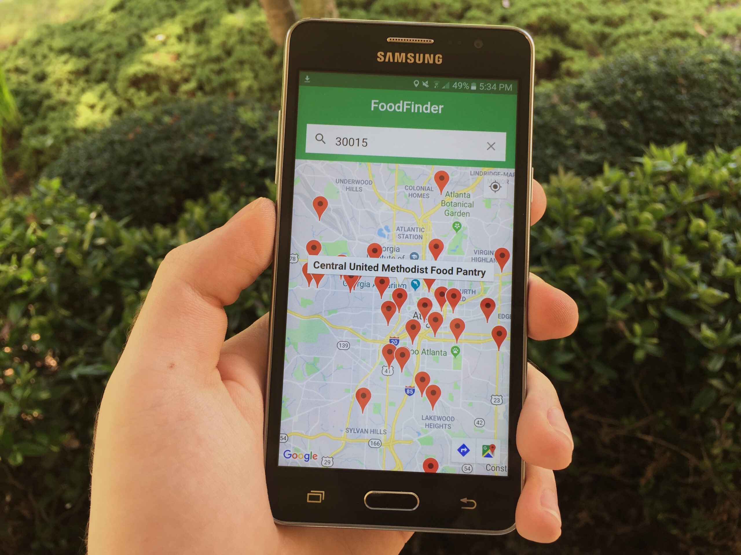 The FoodFinder app.