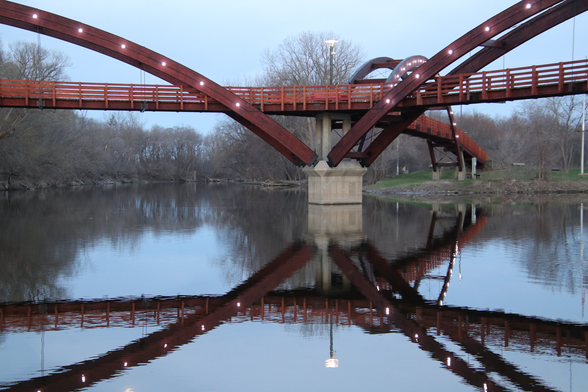 Early Morning at The Tridge - Midland, Michigan. Image credit: Corey Seeman