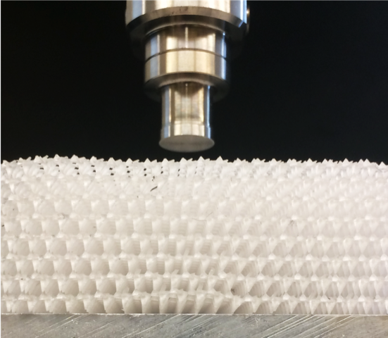 Pictured is a 3D printed specimen of topological mechanical metamaterials. Image credit: Ellen Arruda, Xiaoming Mao, University of Michigan.