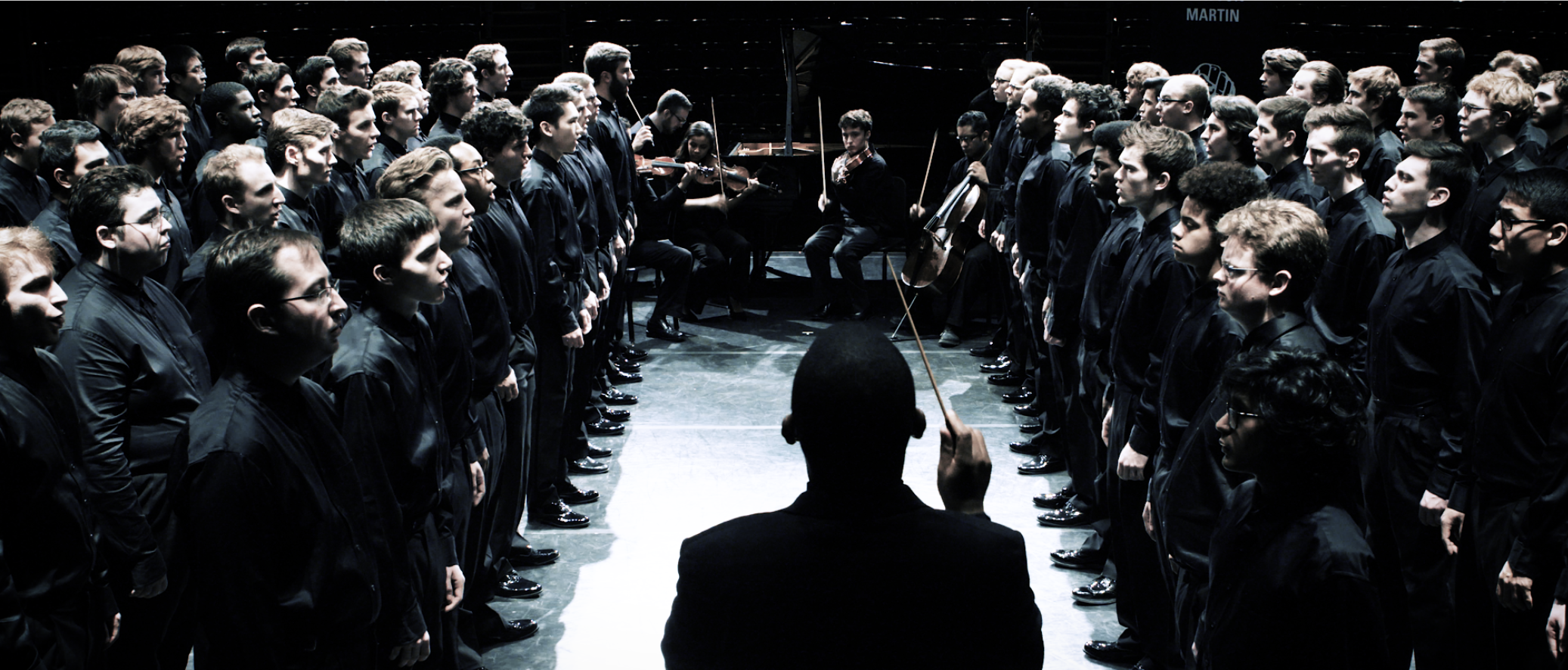 Video Still of Seven Words of the Unarmed performance by U-M Men's Glee Club. Image credit: Chris McElroy, Michigan Media